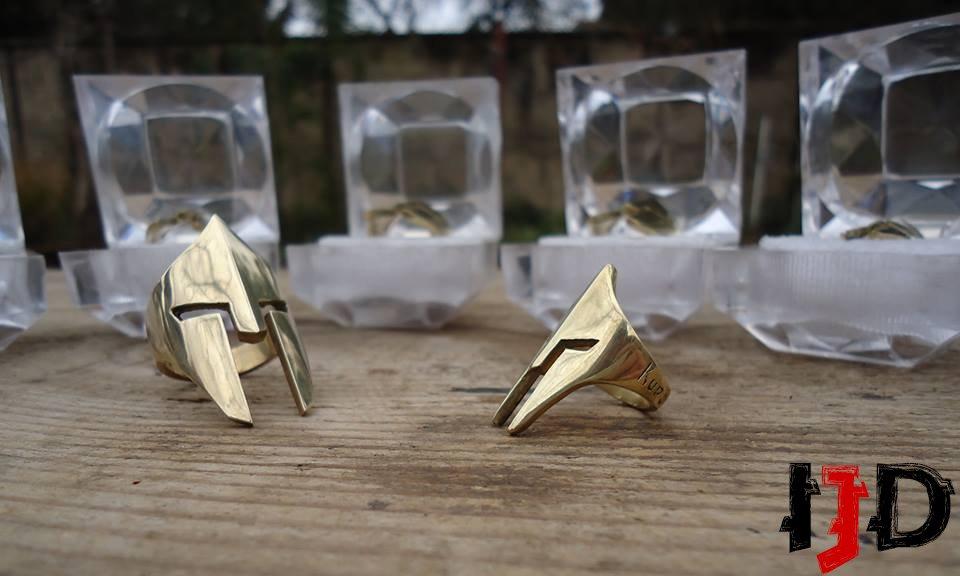 Golden Spartan Ring - Helmet Ring - Spartan Jewelry - Golden Warrior Ring - Medieval Jewelry