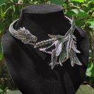 Elaborate detailed 3d metal dragon costume necklace choker prop , Jormungandr world serpent