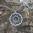 Silver hendecagram star necklace , chaos anti cosmic energy pendant