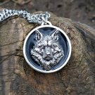 Realistic 3d metal wolf medallion necklace - canis lupus pagan charm pendant - Fenris