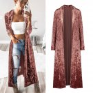 Street Style Solid Color Long Velvet Cardigan Coats