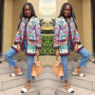 National Style Floral Printed Loose Long Coat For Women