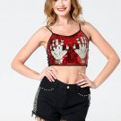 Summer Glitter Sequined Hands Printed Women Camisole