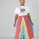 Multicolored Printing High Waist Midi Skirt