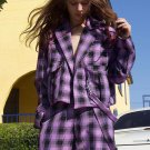 Two Pockets Purple Plaid Jackets For Women
