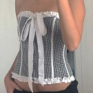 Summer Tie Bow Agaric Laces Plaid Strapless Camisole
