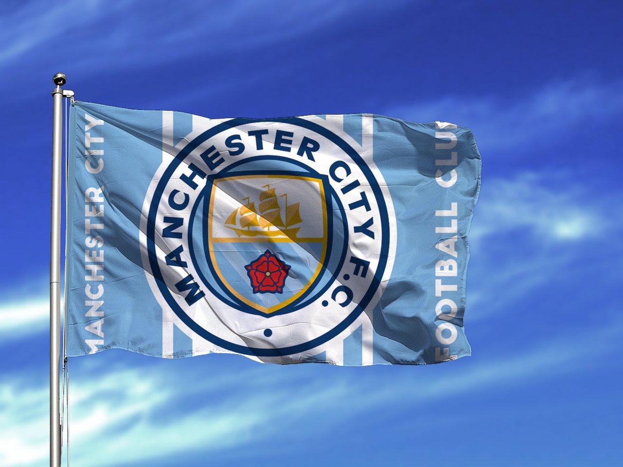 City Manchester Flag Fc Soccer Banner Football Premier Team Ft Club England Blue