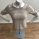 Women's Talbots Brown & White Striped 3/4 Sleeve Knit Top Casual Nice Cute