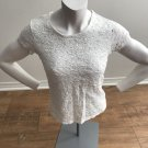 Women's Coldwater Creek White Lace Short Sleeve Knit Top Cute Pretty Nice