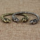 Viking Wolf Head Bracelet Alloy Medieval Norse Torc Skyrim Silver Gold Jewelry