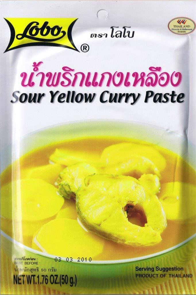 2 X  50 Grams, 1.76 Oz Authentic Thai Dishes Lobo Brand Sour Yellow Curry Paste