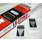 100 BLADES HI-STAINLESS PLATINUM DOUBLED EDGE RAZOR BLADES BY FEATHER RED BOX