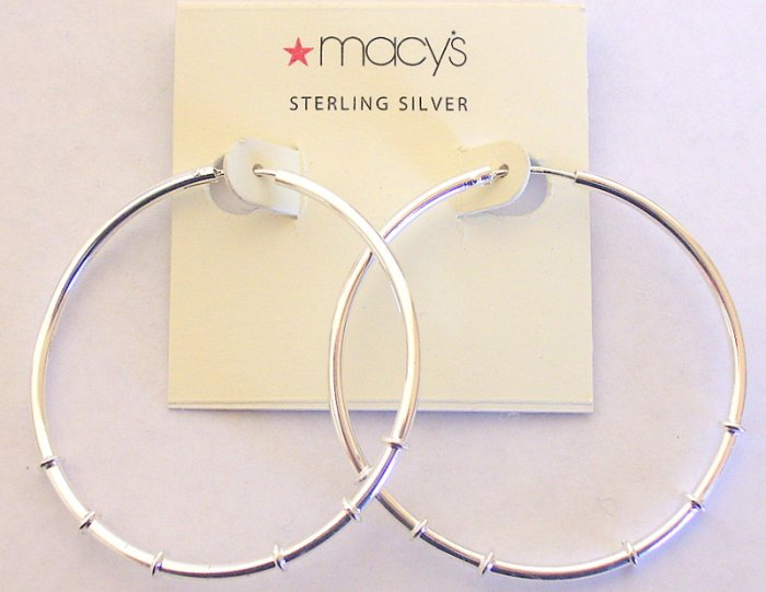 Macy's 1 3/4 Inch Thick Ridged Hoop 925 Silver Earrings New