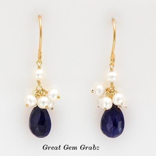 14K YG Pearl & 10.84 Ctw Genuine Blue Sapphire Earrings