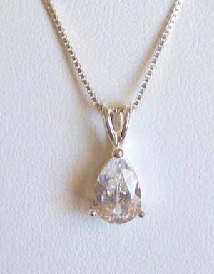 Stunning Pear Cut White CZ 925 Necklace With 925 Chain New