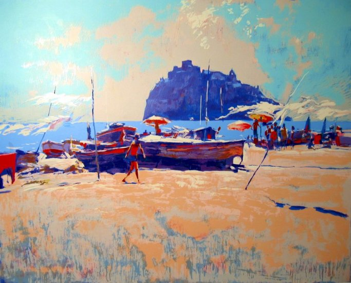 <strong>ISCHIA</strong> by Nicola Simbari <br>(Serigraph - Acrylic on Paper)