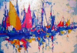 <strong>BLUE MARINA</strong> by Nicola Simbari <br>(Serigraph - Acrylic on Paper)