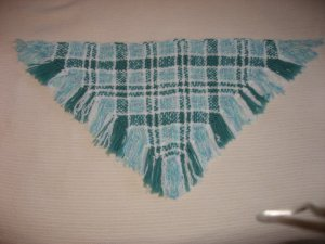 Handwoven Shawl Girls Green White Blue Plaid Handmade by Balck and White Sheep Shop