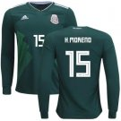 H Moreno #15 Mexico Men long sleeve jersey world cup 2018 home shirt Green