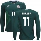 Carlos Vela #11 Mexico jersey world cup 2018 Men long sleeve home shirt Green
