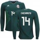 Javier Hernandez #14 Mexico long sleeve jersey world cup 2018 Men home shirt Green