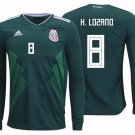 HIRVING LOZANO #8 Mexico long sleeve jersey world cup 2018 Men home shirt Green
