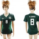 HIRVING LOZANO #8 Women Mexico jersey world cup 2018 home shirt Green
