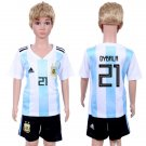 Jersey World Cup 2018 Argentina Dybala #21 Home Set Youth Kids