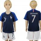 GRIEZMANN #7 France Home Set Youth Kids Jersey World Cup 2018  Socce