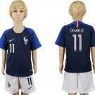 France DEMBELE #11 Jersey Home  Set Youth Kids World Cup 2018