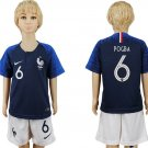 World Cup 2018 France POGBA #6 Jersey Home Set Youth Kids
