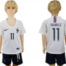France DEMBELE #11 Away World Cup 2018 short Jersey Set Youth Kids