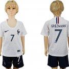 GRIEZMANN #7 World Cup 2018 France Away short Jersey Set Youth Kids