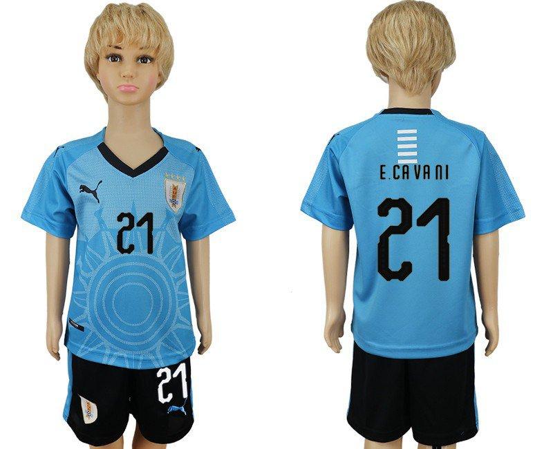 World Cup 2018 E. CAVANI #21 Uruguay Jersey Home  Youth Kids Set