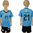 World Cup 2018 E. CAVANI #21 Uruguay Jersey Home  Youth Kids Set