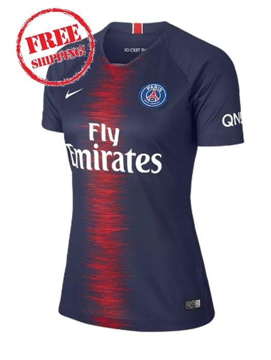 Women Custom PSG 2018/2019 Home Football Soccer Jersey Shirt Blue
