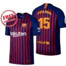 Paulinho #15 New Jersey 2018/19 Barcelona Men Home Football Soccer Shirt Blue