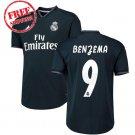Jersey Away Real Madrid Benzema #9 Men Football Soccer Shirt Black 2018/19