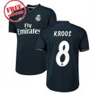 Real Madrid Men Football 2018/19 Kroos  #8 Jersey Away Soccer Shirt Black