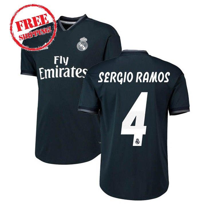 Sergio Ramos #4 Real Madrid Men Football  Away Soccer 2018/19 Jersey Shirt Black