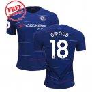 Football Home Chelsea Jersey 2018/19 Giroud  #18 Men Soccer  Shirt Blue