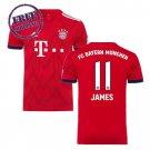 Bayern Munich 2018 2019 Jersey Men Football Home James #11 Soccer  Shirt red