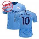 Kun Aguero #10 Manchester City 2018 2019 Football Home Soccer 2018 2019 Jersey Men Shirt Blue