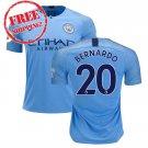 Bernardo #20 Manchester City 2018 2019 Football Home Soccer 2018 2019 Jersey Men Shirt Blue