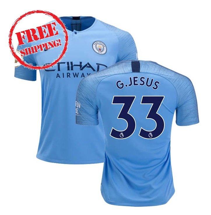 Manchester City 2018 2019 Gabriel Jesus #33 2018 2019 Football Home Soccer Jersey Men Shirt Blue