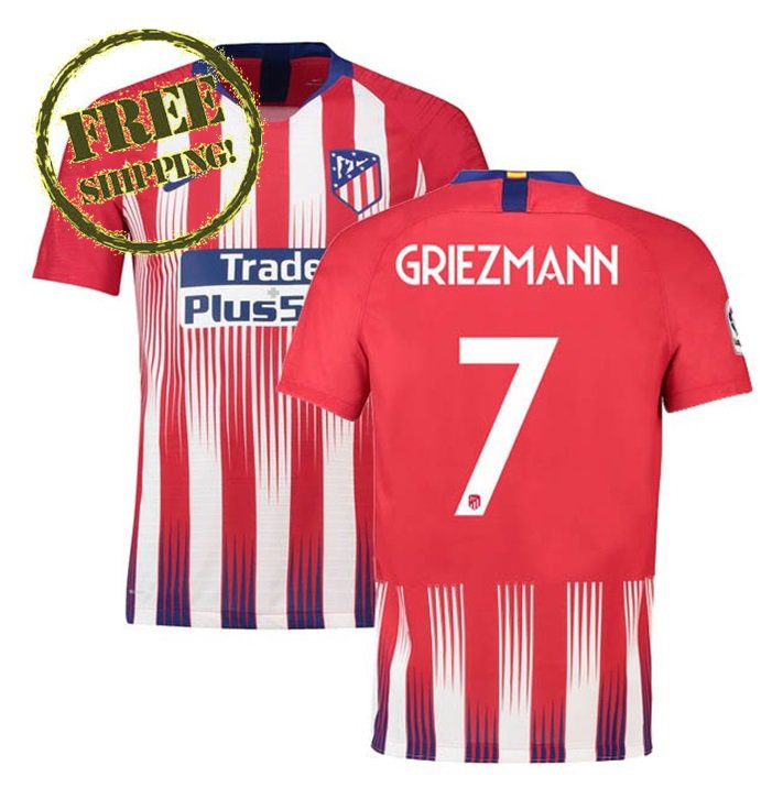 Griezmann #7 Atletico Madrid 2018 2019 Football Home Soccer Jersey Men Shirt Red