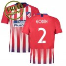 Football Home Jersey Atletico Madrid 2018 2019 Godin #2 Soccer Men Shirt Red