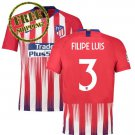Filipe Luis #3 Atletico Madrid Football Home Jersey 2018 2019 Soccer Men Shirt Red
