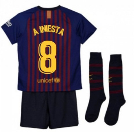 2018-2019 FC Barcelona Home Kids (A Iniesta 8) socks, shorts