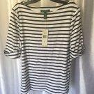 Lauren Ralph Lauren Women's Navy & White Striped 100%Cotton Shirt/Top Sz XL NWWT